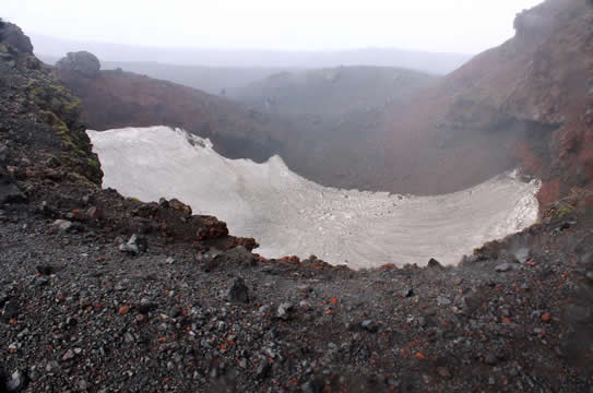 Ice in an extinct volcano crater