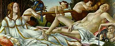 Aphrodite, the goddess of love, sits with the war god, Ares in this painting by the Renaissance artist Botticelli. Aphrodite is one of several Greek goddesses, and is often referred to by her Roman name, Venus.
