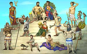 A family portrait of the Twelve Olympians