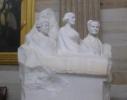 Sculpture of Elizabeth Cady Stanton, Susan B. Anthony, and Lucretia Mott in U.S. Capitol