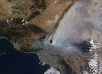 Satellite image of the Station Fire in Los Angeles in 2009. Drought conditions and record hot temperatures could make fires like this more frequent and intense.