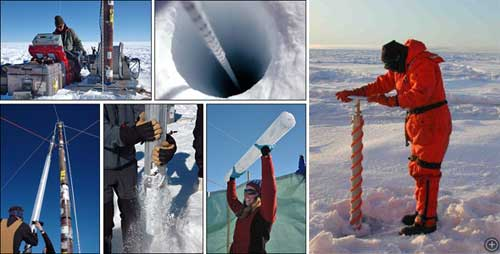 Clockwise from left: Ice coring machine, hole in ice, pulling ice core from machine, man with hands on ice core tube in ground, scientist holding up ice core, man hand drilling ice core.