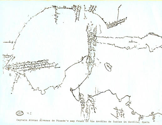 Earliest known map of Texas Gulf of Mexico coastline. Drawn by Alonso Álvarez de Pineda in 1519