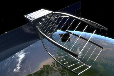 The CleanSpace One will use its large net to capture a Swiss satellite no longer in use.