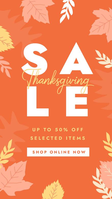 Thanksgiving Sale Poster Orange & Yellow Leaves