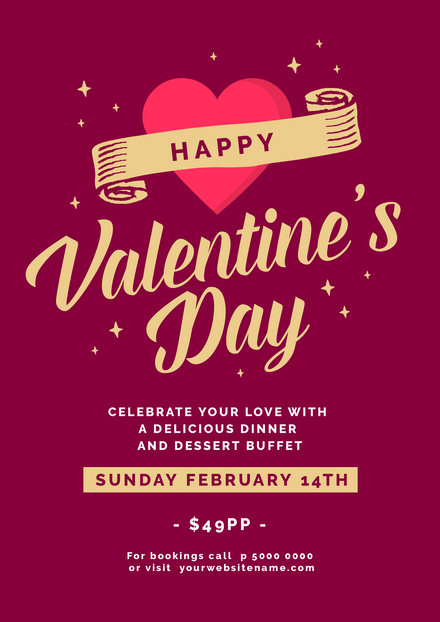 Valentines Day Deep Red & Gold Template