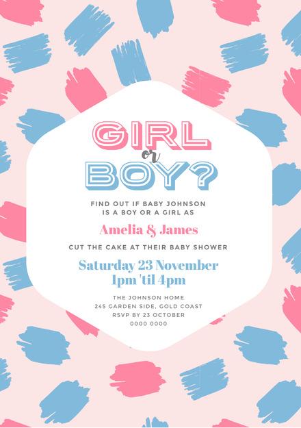 Gender Reveal Baby Shower Pink & Blue Pattern Invitation