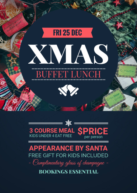 Dark Blue Circle Xmas Buffet Lunch Promotion Template
