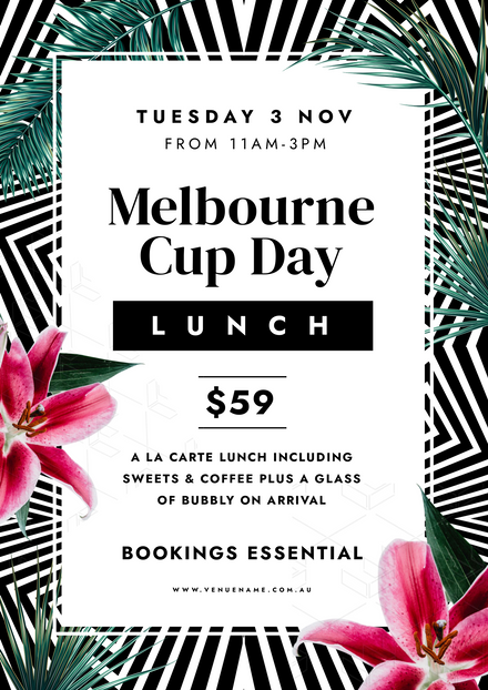 Melbourne Cup Day Stripes & Leaves Background