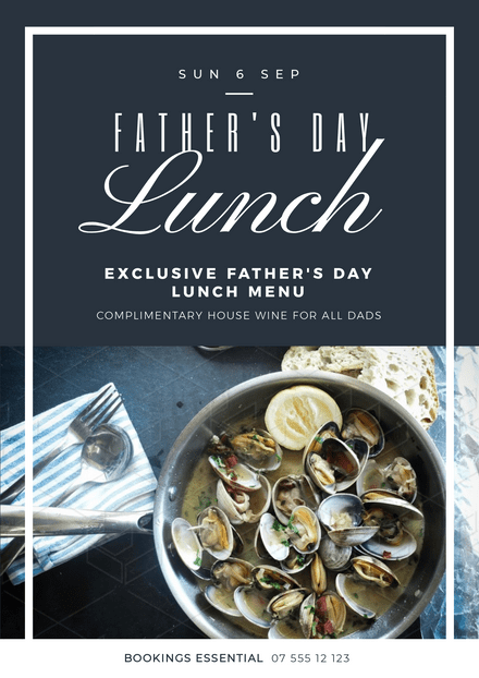 Father's Day Lunch Dark Blue Theme Template with Seafood Image