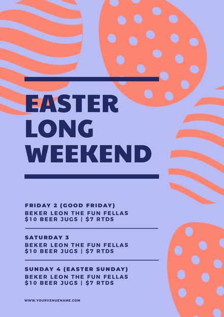 Easter Long Weekend Pokla Dot Stripe Eggs