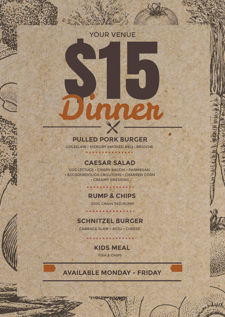 15 dinner menu template for specials on recycled look paper