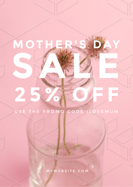 Pastel Pink Mother's Day Sale Template with Flower in Vase