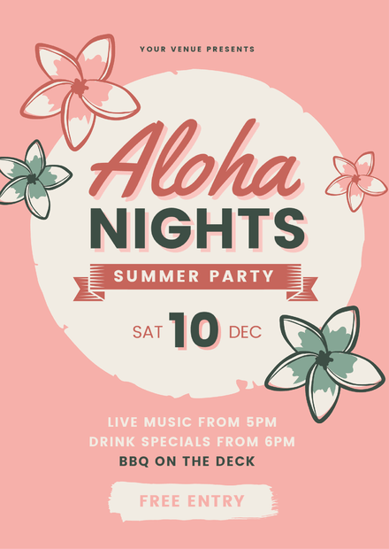 Aloha Nights Summer Party Graphic Template with illustrated Frangipanis