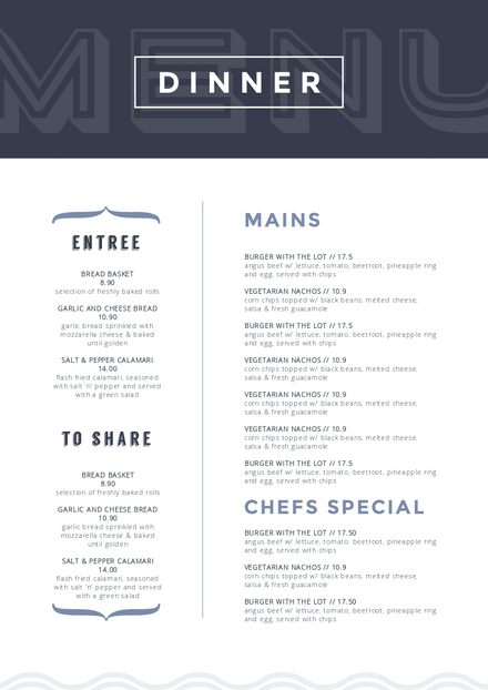 Dark Blue Header Dinner Menu Template