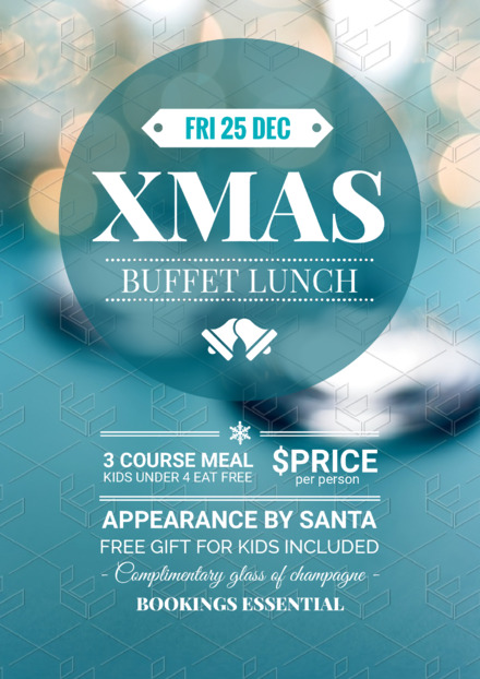 Christmas Day Lunch Promotional Template with Blue Christmas decorations