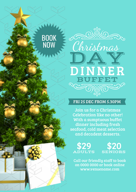 Christmas Day poster with dressed Xmas tree image