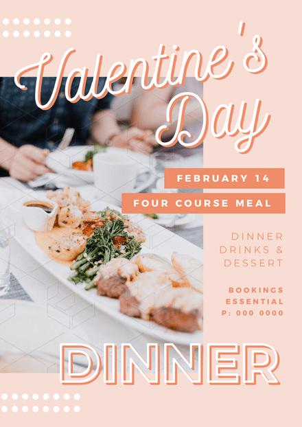 Valentines Day Dinner Pastel Template