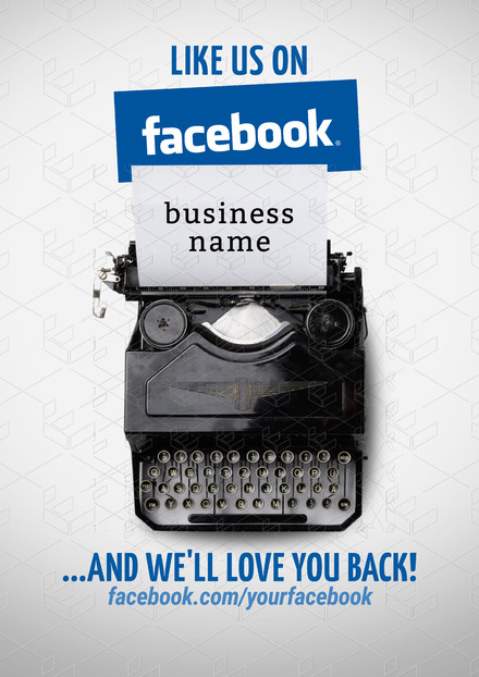 Like Us On Facebook Template With Vintage Typewriter Image