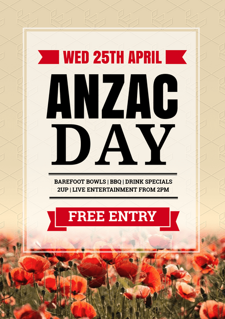 Anzac Day Graphic template with Poppies image in background