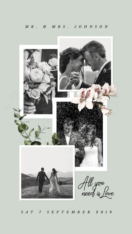 Collage: Wedding Love Album Floral Frames