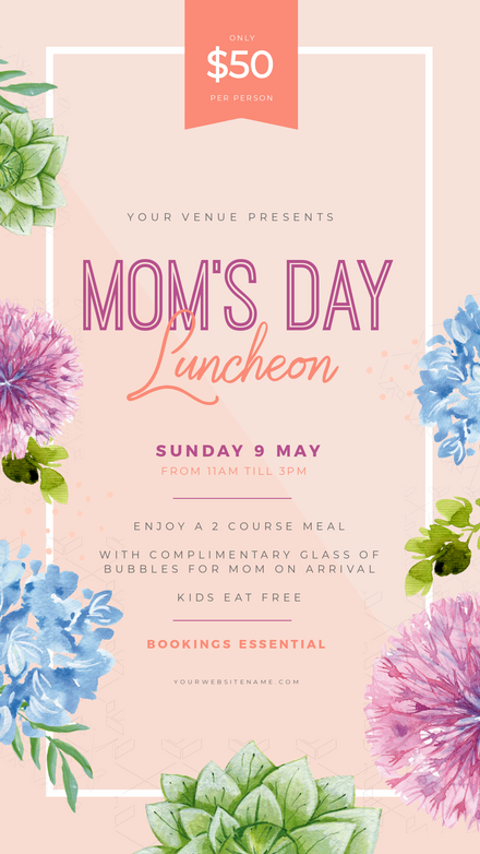 Mom's Day Luncheon Template with Watercolor Floral