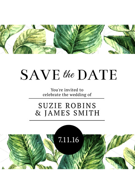 tropical green leaf save the date wedding invitation easil