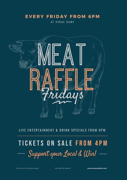 Mega Meat Raffle - Illustrated Cow Background