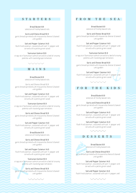 Light Blue Menu Template with wavy line feature