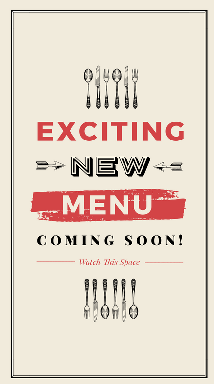 Rustic Black White and Cream New Menu Coming Soon
