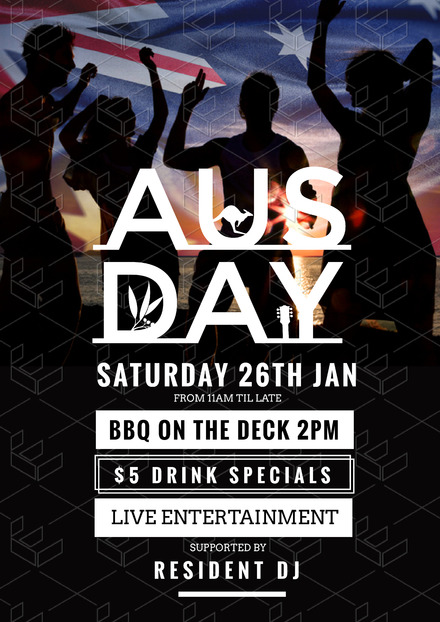 Australia Day Graphic Template with people dancing and Aussie Flag