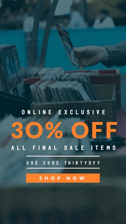 30% Off Sale Orange & White Text