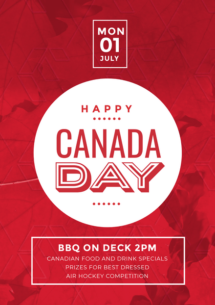 Happy Canada Day Design with White Circle feature and maple leaves