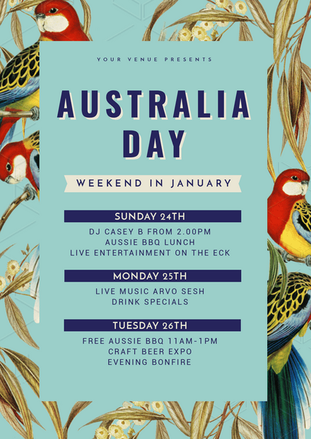 Australia Day Long Weekend with native birds illustrations