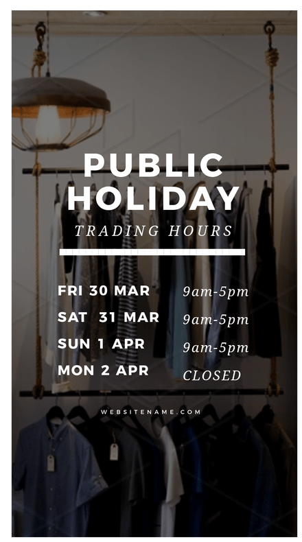 Public Holiday Trading Hours Template