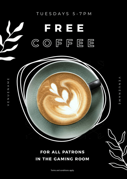 Free Coffee Template with Organic Line Elements
