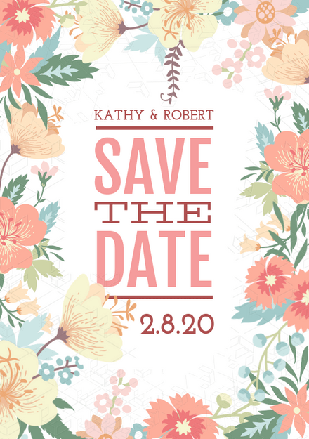 Colorful Floral Border Save The Date / Wedding Invitation