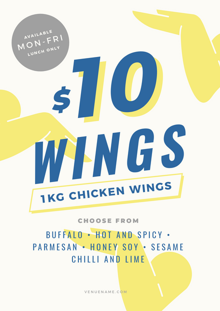 Hot Wings Food Promotion Template with illustrated wings