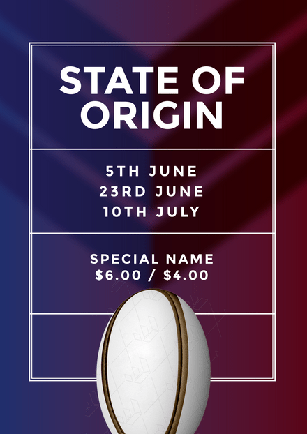 Simple State of Origin template with ball feature