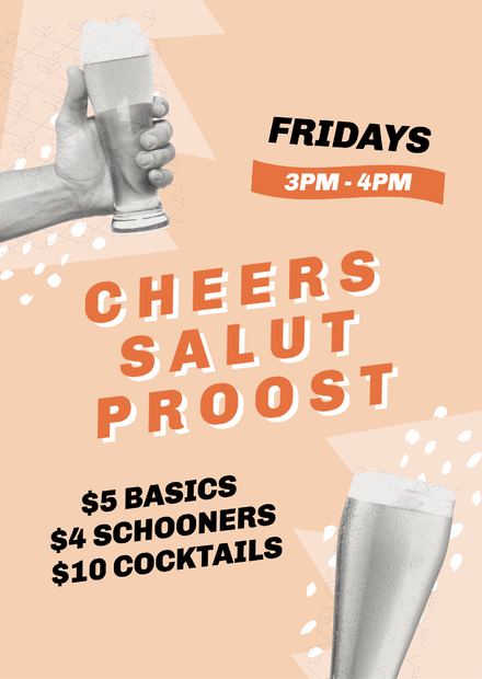 Cheers Salut Proost Drinks Happy Hour Template