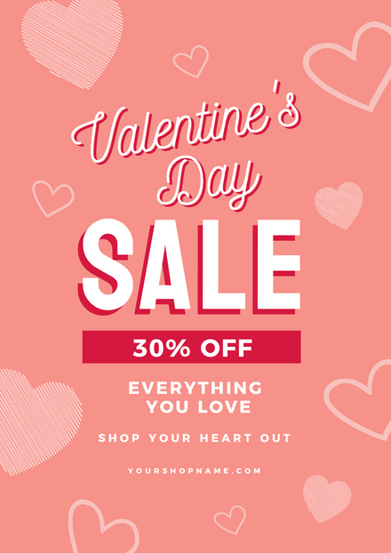 Valentines Day 30% Off Sale Template with Hand-drawn hearts