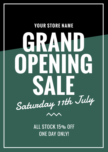 Retail Store Grand Opening Sale Block Color Template