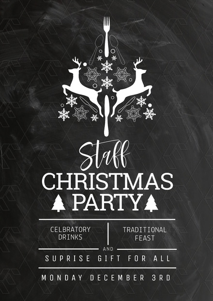 staff christmas party poster on chalkboard background