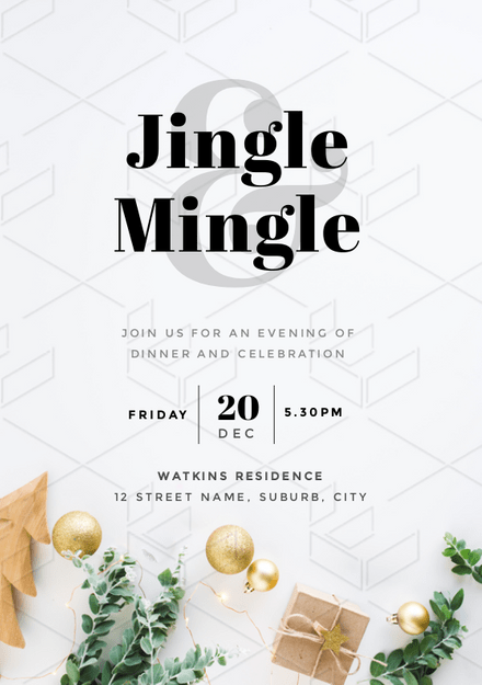Jingle and Mingle Christmas Party Invitation with elegant styled stock image