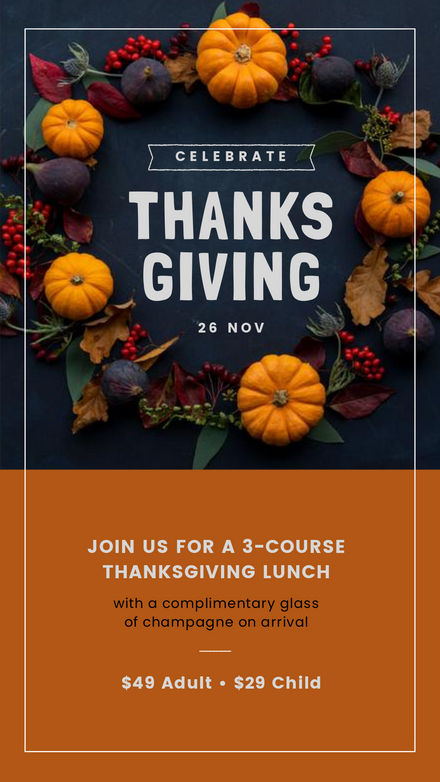 Thanksgiving Event Promotion Template with Wreath Image