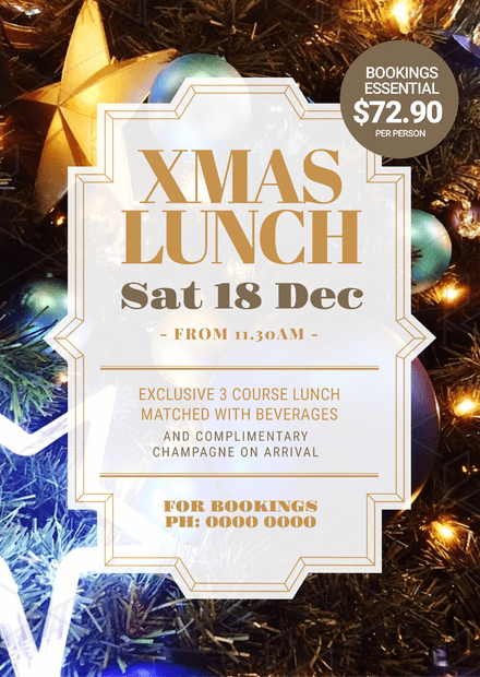 Christmas Day Lunch Poster Template with decorations in background