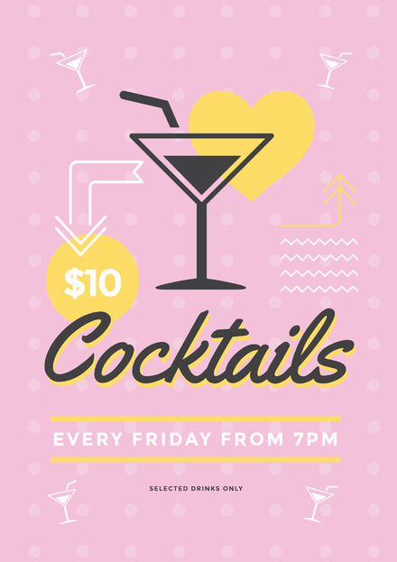 pink and yellow cocktails and drinks special poster template with