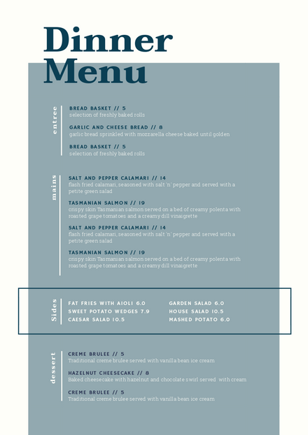 Dinner Menu with blocked off color Template