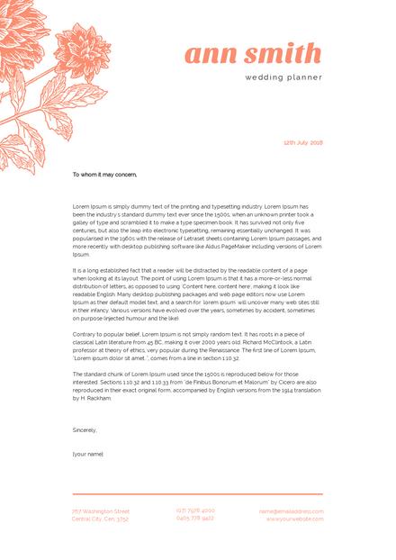 Orange Floral Letterhead Template