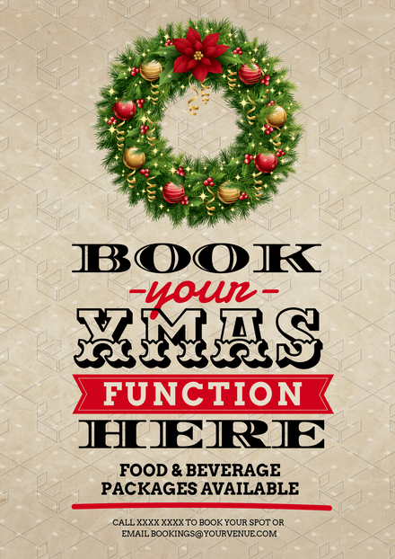 Christmas Functions Template with green and red xmas wreath